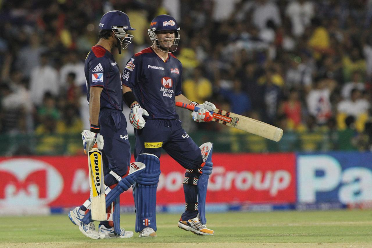 Delhi Daredevils player David Warner dancing after scoring a half century during match 44 of the Pepsi Indian Premier League between The Delhi Daredevils and the Kolkata Knight Riders held at the Chhattisgarh International Cricket Stadium in Raipur on the 1st May 2013Photo by Deepak Malik-IPL-SPORTZPICS   Use of this image is subject to the terms and conditions as outlined by the BCCI. These terms can be found by following this link:https://ec.yimg.com/ec?url=http%3a%2f%2fwww.sportzpics.co.za%2fimage%2fI0000SoRagM2cIEc&t=1495633425&sig=ZwcfHRkCJzVsdnGYBkkkgQ--~C