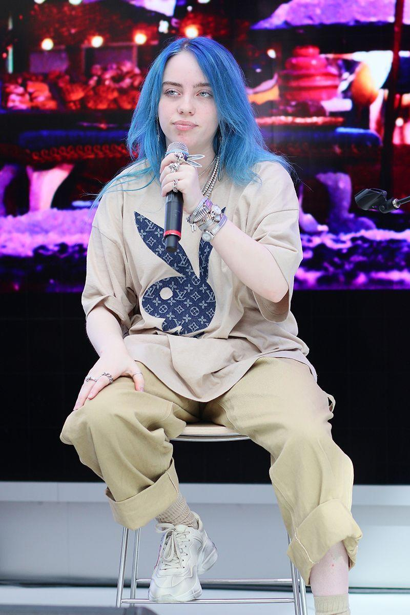 <p>The Playboy bunny logo, normally associated with skin-baring 2000s outfits, is reinterpreted by Eilish in a baggy menswear-inspired look. </p>