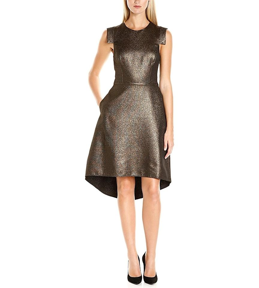 """<p><em>Halston Heritage Cap Sleeve Round Neck Metallic Jacquard Dress, $495, available at <a rel=""""nofollow"""" href=""""http://amzn.to/2gJS2fy?mbid=synd_yahoostyle"""">amazon.com</a></em></p>"""