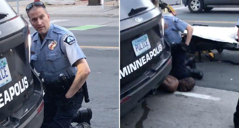 Minneapolis police officer Derek Chauvin kneels on George Floyd's neck before the black man's death. He was fired and charged with second-degree murder and manslaughter.