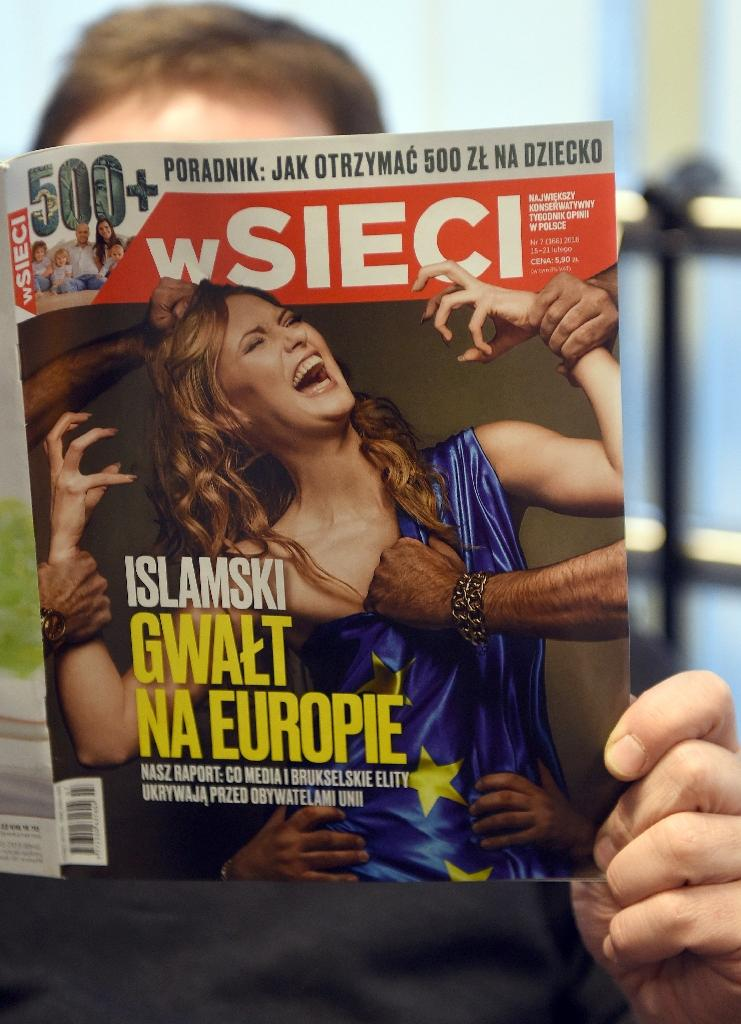"""The front page of Polish weekly """"W sieci"""" with the title """"Islamic rape of Europe"""" on February 18, 2016"""