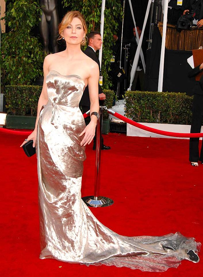 """Grey's Anatomy"" star Ellen Pompeo shines in this strapless, reflective Nina Ricci creation. Dimitrios Kambouris/<a href=""http://www.wireimage.com"" target=""new"">WireImage.com</a> - January 27, 2008"