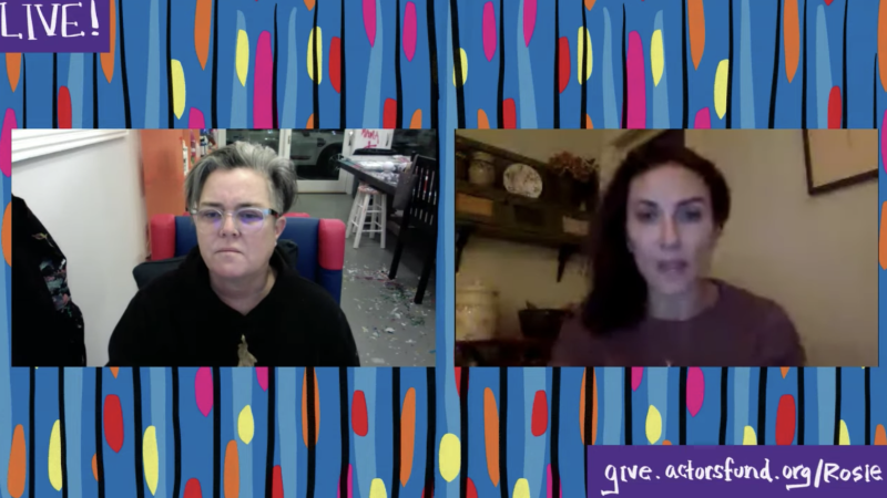 Rosie O'Donnell, left, speaking with Laura Benanti on YouTube on Sunday night. (Screenshot: YouTube)