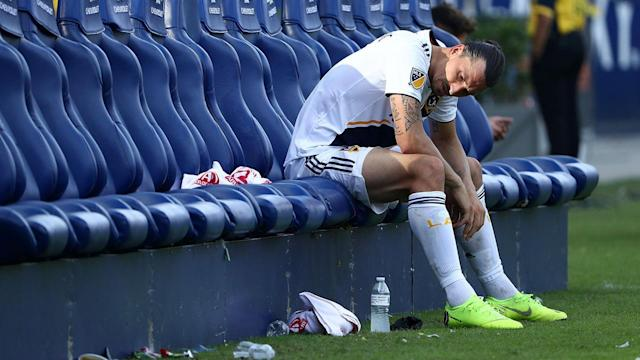 "It remains to be seen whether or not <a class=""link rapid-noclick-resp"" href=""/soccer/players/374294/"" data-ylk=""slk:Zlatan Ibrahimovic"">Zlatan Ibrahimovic</a> will return to the LA Galaxy next season. (Meredith Videos)"