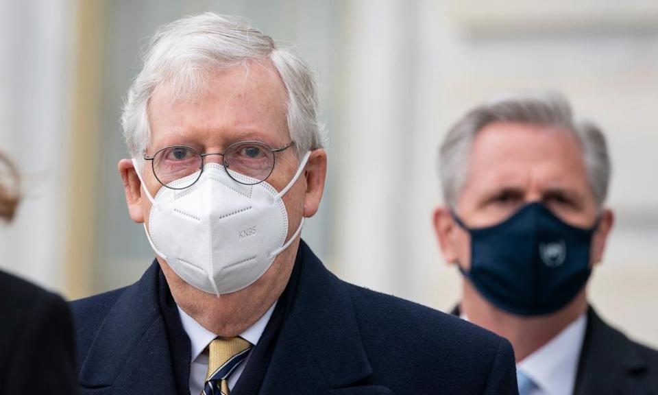 Mitch McConnell, with the House minority leader, Kevin McCarthy, at the US Capitol on 3 February.