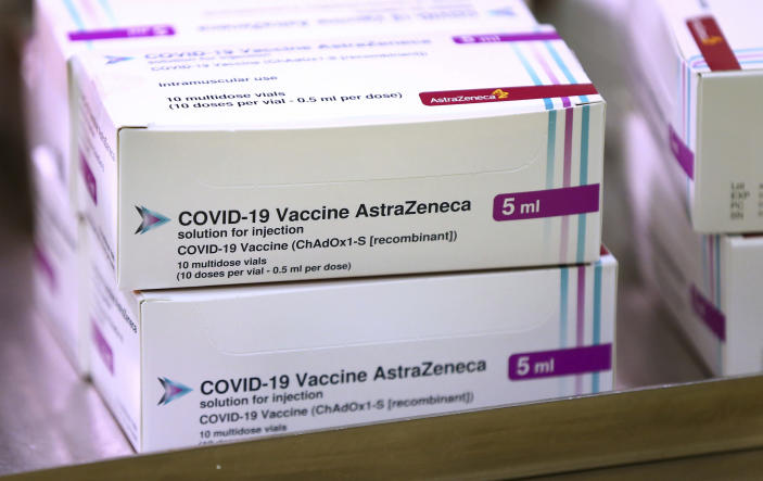 FILE - In this Saturday Jan. 2, 2021 file photo, doses of the COVID-19 vaccine developed by Oxford University and U.K.-based drugmaker AstraZeneca arrive at the Princess Royal Hospital in Haywards Heath, England. Britain races to vaccinate more than 15 million people by mid-February, and in an effort to ensure vaccines get to the right places at the right times, along with the syringes, alcohol swabs and protective equipment needed to administer them, the government has called in the army. (Gareth Fuller/Pool via AP, File)