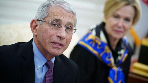 PHOTO: Dr. Anthony Fauci, director of the National Institute of Allergy and Infectious Diseases speaks as President Donald Trump meets with Gov. John Bel Edwards of Louisiana, in the Oval Office of the White House in Washington, April 29, 2020. (Mandel Ngan/AFP via Getty Images)