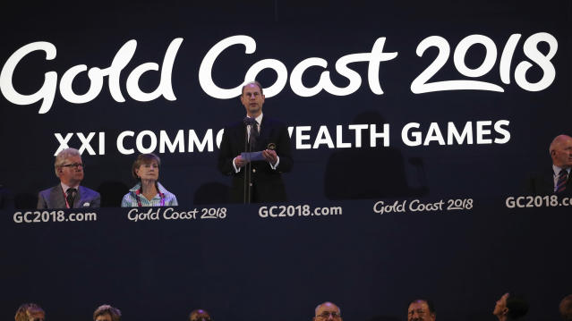 Duke of Wessex, Prince Edward addresses the closing ceremony at Carrara Stadium during the 2018 Commonwealth Games on the Gold Coast, Australia, Sunday, April 15, 2018. (AP Photo/Dita Alangkara)