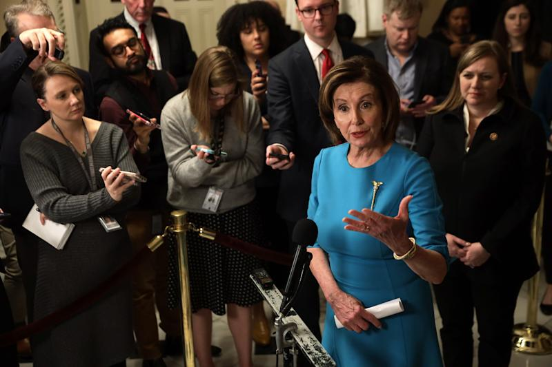 WASHINGTON, DC - MARCH 13: U.S. Speaker of the House Rep. Nancy Pelosi (D-CA) speaks to members of the media at the U.S. Capitol March 13, 2020 in Washington, DC. Speaker Pelosi held a briefing on the Coronavirus Aid Package Bill that will deal with the outbreak of COVID-19. (Photo by Alex Wong/Getty Images)