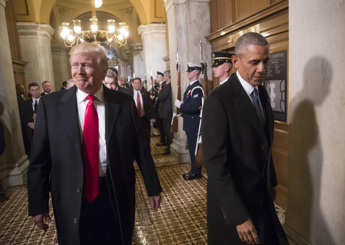 <p>President-elect Donald Trump, left, and President Barack Obama arrive for Trump's inauguration ceremony at the Capitol in Washington, Friday, Jan. 20, 2017. (Photo: J. Scott Applewhite, Pool/AP) </p>