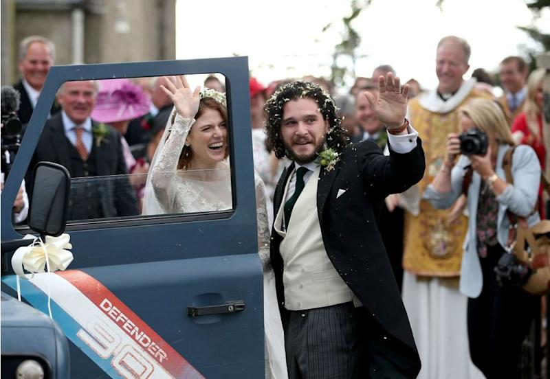 Rose Leslie and Kit Harington at their wedding