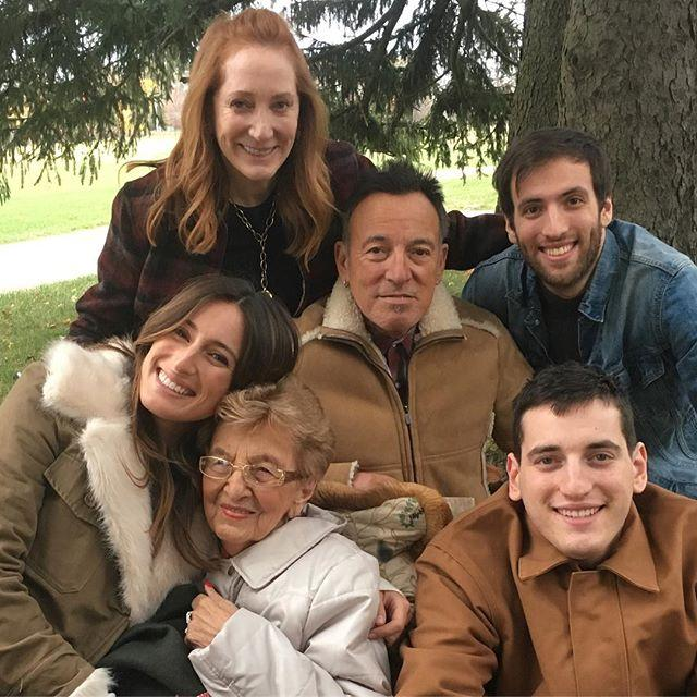 <p>Gang's all here! Bruce, Patti and their three kids posed for a sweet family portrait with Bruce's mom Adele on Thanksgiving in 2016.</p>