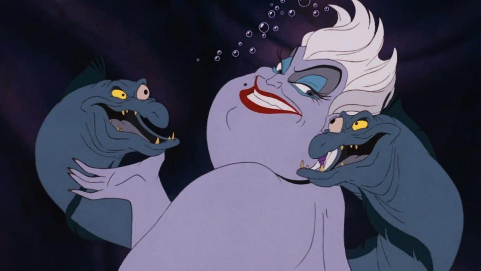 Ursula with her two pet eels around her shoulders from The Little Mermaid
