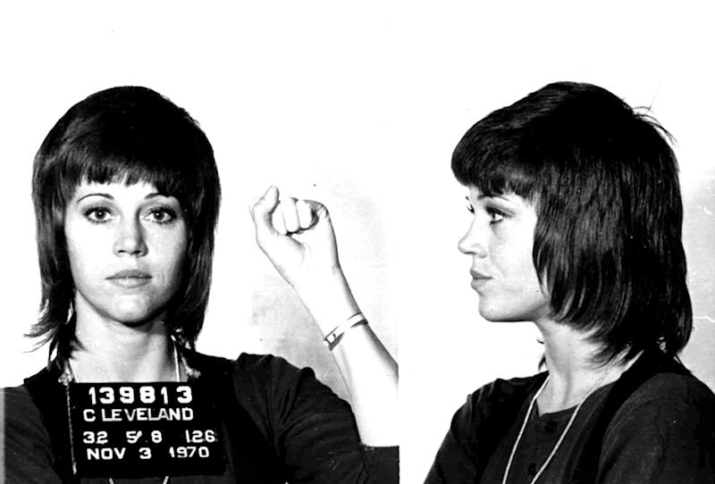 Jane Fonda is shown in a Nov. 3, 1970 police mugshot after she was arrested for assault and battery in Cleveland, Ohio after she allegedly kicked a cop. All charges were later dropped. (Photo: AP Images)