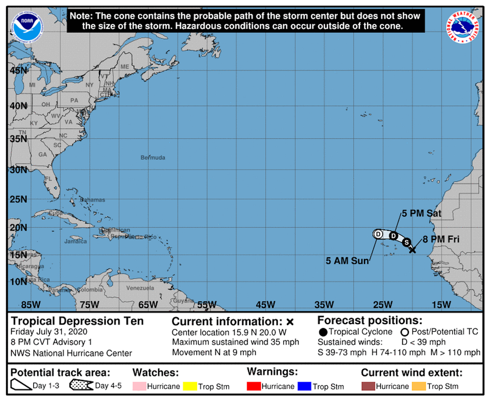 Sometime Friday night, forecasters say the depression will form into a tropical storm, but weaken on Saturday and become a remnant later that night. There are no coastal watches or warnings in effect.
