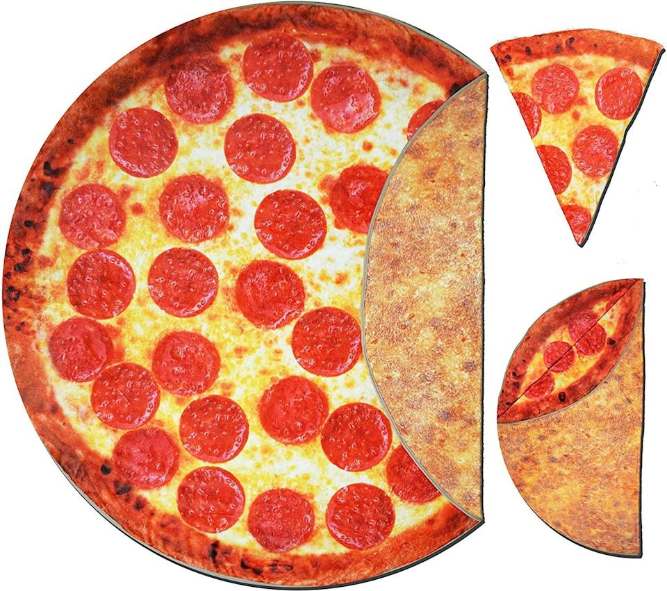<p>They'll love to use this <span>Pizza Blanket Pepperoni Double Sided Print with Crust</span> ($29) to keep warm. It's soft and plush.</p>