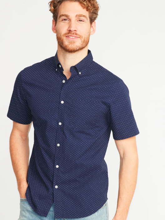 Slim-Fit Built-In Flex Printed Everyday Shirt. (Photo: Old Navy)
