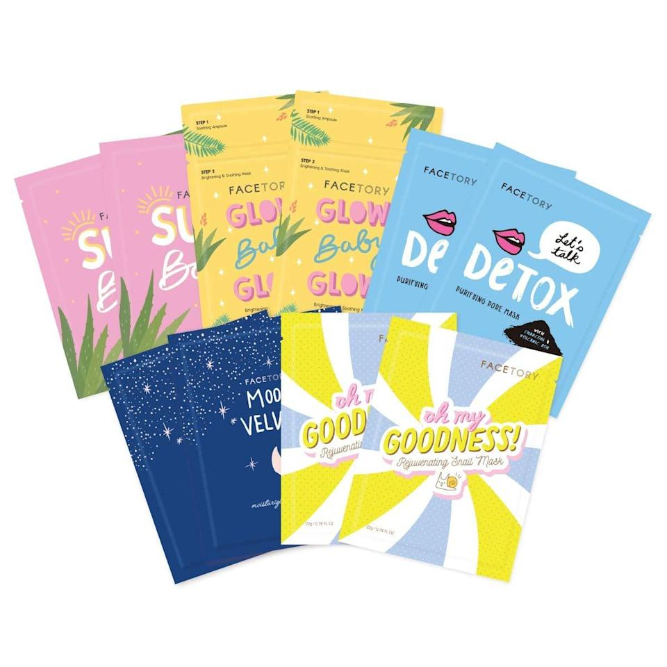 <p>Whether you want to hydrate, detox, soothe, glow, moisturize, or revitalize, the <span>FaceTory Collection Facial Mask Set</span> ($18) has got you covered.</p>