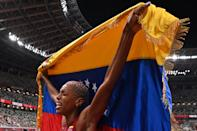 <p>Venezuela's Yulimar Rojas celebrates after winning in the women's triple jump final during the Tokyo 2020 Olympic Games at the Olympic Stadium in Tokyo on August 1, 2021. (Photo by Andrej ISAKOVIC / AFP) (Photo by ANDREJ ISAKOVIC/AFP via Getty Images)</p>