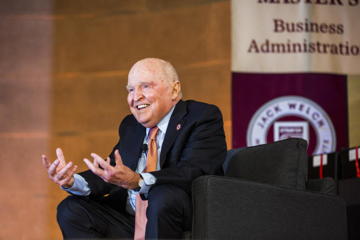 WASHINGTON, DC - JUNE 11:  Former General Electric CEO Jack Welch speaks during a ceremony for students at the Jack Welch Management Institute,  June 11, 2016 in Washington, DC.  JWMI offers online MBA and Executive Certificate programs in business.   (Photo by Brooks Kraft/Getty Images)