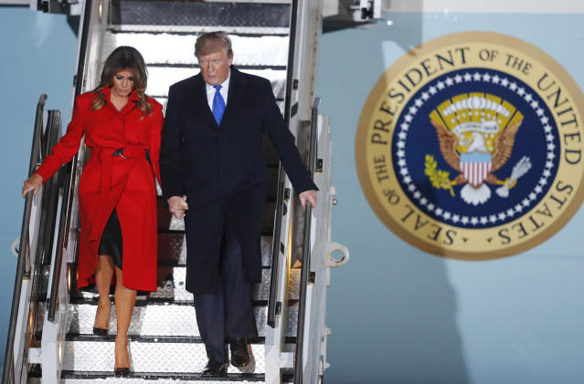 US President Donald Trump and first lady Melania Trump arrive at Stansted Airport in England. Photo: Frank Augstein/AP