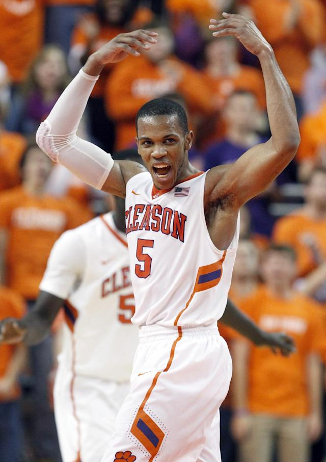 Clemson's Jaron Blossomgame (5) celebrates after scoring in the second half of an NCAA college basketball game against Duke in Clemson, S.C., on Saturday, Jan. 11, 2014. (AP Photo/The Independent-Mail, Sefton Ipock)