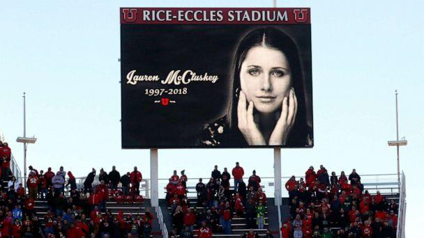 PHOTO: An image of University of Utah student and track athlete Lauren McCluskey, who was fatally shot on campus, is projected on the video board before the start of an NCAA college football game between Oregon and Utah in Salt Lake City, Nov. 10, 2018. (Rick Bowmer/AP, FILE)