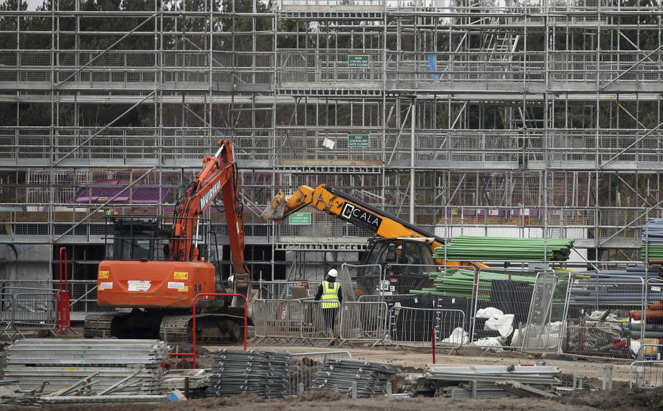 UK construction has seen a rebound after activity collapsed because of the coronavirus. Photo: Andrew Milligan/PA via AP