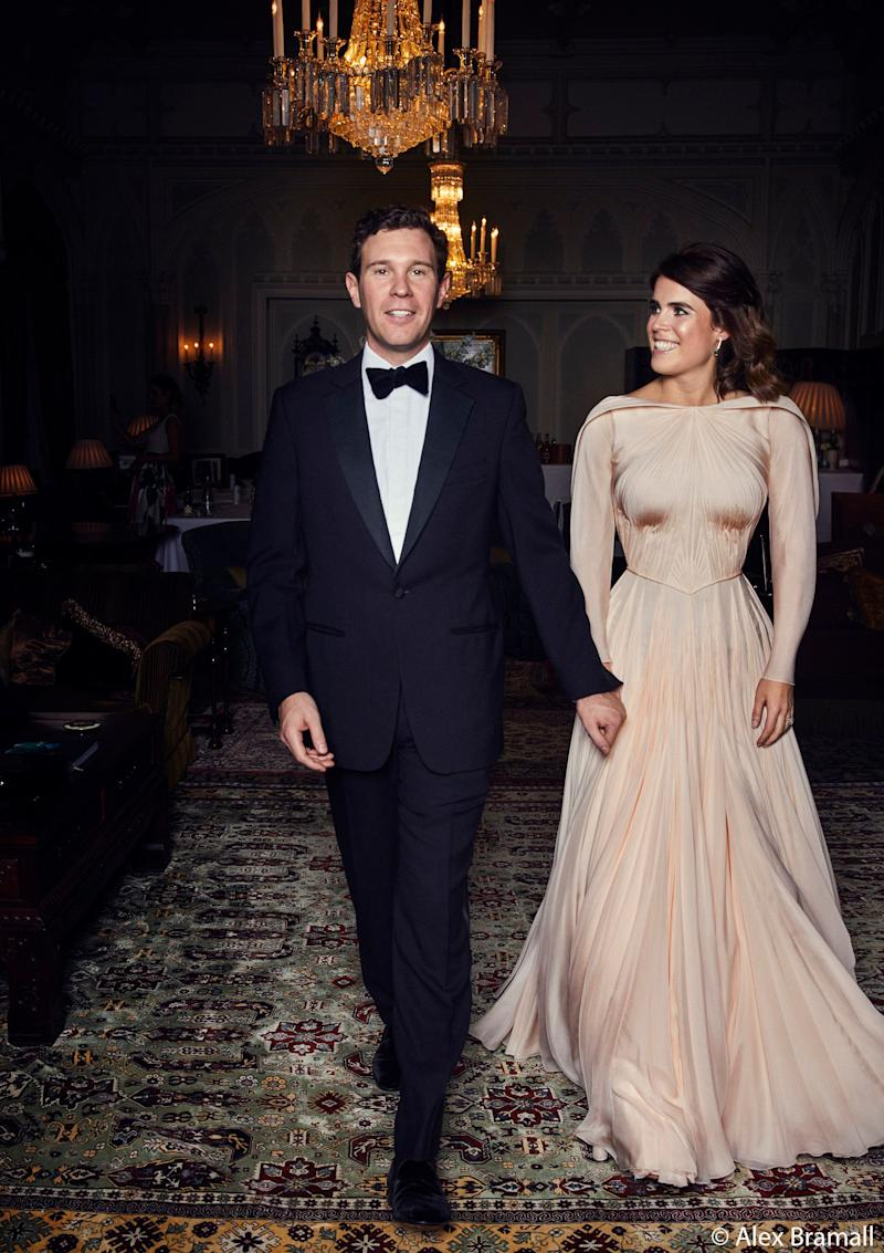 Jack Brooksbank and Princess Eugenie of York arrive at the Royal Lodge in Windsor for a dinner the evening of their wedding.  (Photo: Alex Bramall/Courtesy Buckingham Palace)
