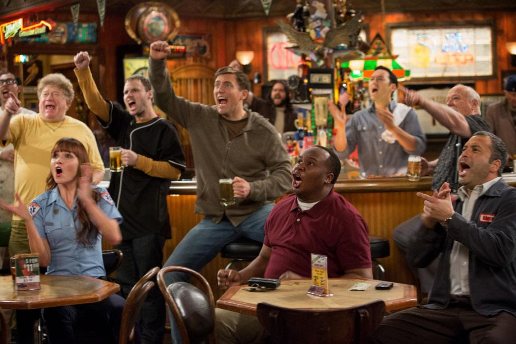 "Valerie Azlynn, Owen Benjamin, Roy Wood Jr., Steve Byrne, and Ahmed Ahmed in the ""Sullivan & Son"" Season 2 Premiere, ""The Pilot, One More Time."""