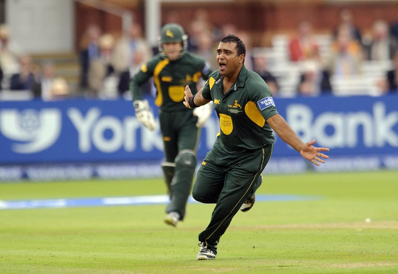 Nottinghamshire's Samit Patel celebrates claiming the wicket of Glamorgan's Chris Cooke during the Yorkshire Bank Pro40 Final at Lord's Cricket Ground, London.
