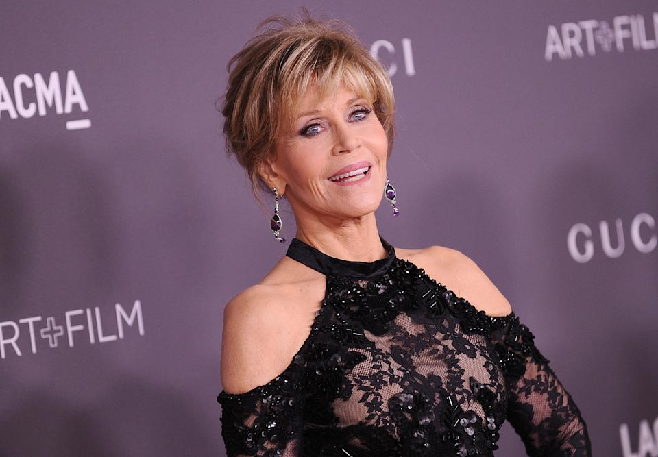 Jane Fonda at the 2017 LACMA Art + Film gala in Los Angeles. (Photo: Getty Images).