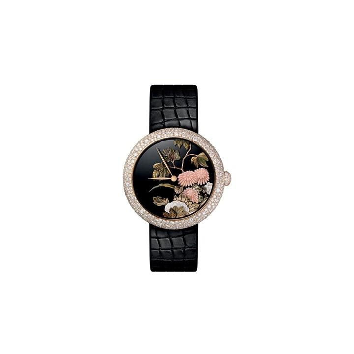 """<p>This unique piece from Chanel features a now-set case with 502 diamonds (4.80 carats), as well as a dial produced using the glyptic and sculpted gold techniques, and a black alligator strap. Added bonus? It is water resistant up to 30 meters. Price upon request. <a rel=""""nofollow"""" href=""""http://www.chanel.com/?mbid=synd_yahoolife#languages"""">Chanel.com</a></p>"""