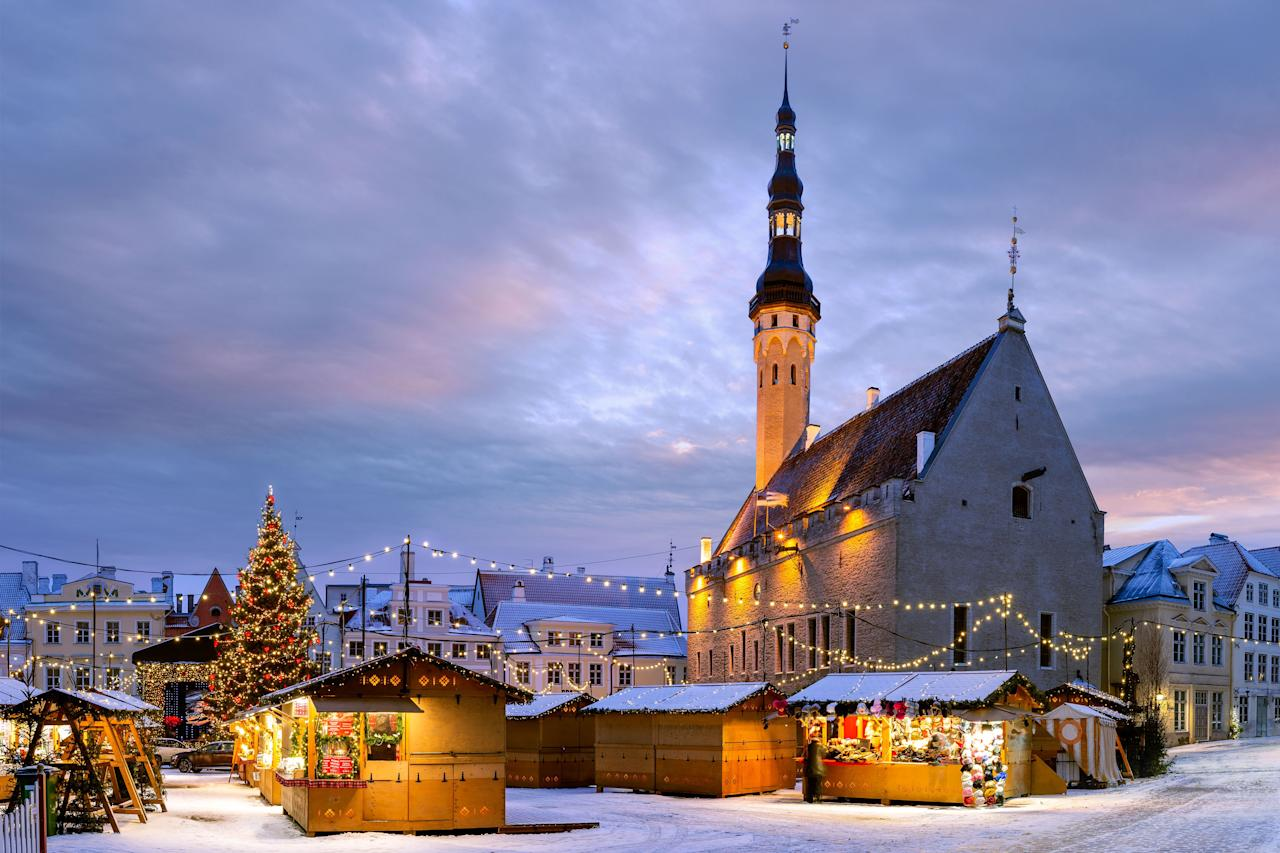 """<p><strong>Location:</strong> Town Hall Square</p> <p><strong>Dates open:</strong> November 15 to January 7</p> <p><strong>Why we love it:</strong> In addition to Estonian Christmas dishes like black pudding and sour cabbage (it's better than it sounds, we swear), <a href=""""https://www.visitestonia.com/en/tallinn-christmas-market"""">Tallinn's market</a>—which travelers dubbed the Best Christmas Market of 2019, according to <a href=""""https://www.europeanbestdestinations.com/christmas-markets/"""" target=""""_blank"""">European Best Destinations</a>—also has a Santa who arrives by reindeer-pulled sleigh. The highlight, though, is its Christmas tree, which the city has been displaying in front of its town hall since 1441—making it the first <a href=""""https://www.cntraveler.com/gallery/the-best-christmas-trees-in-the-world?mbid=synd_yahoo_rss"""">Christmas tree</a> to <em>ever</em> be displayed in Europe.</p> <p><strong>Where to stay:</strong> <a href=""""https://www.cntraveler.com/hotels/estonia/tallinn/hotel-telegraaf?mbid=synd_yahoo_rss"""" target=""""_blank"""">Hotel Telegraaf</a> (422 feet away)</p>"""