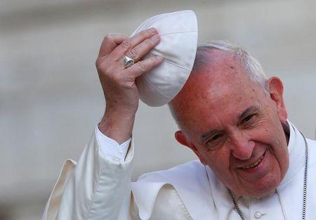 Pope Francis' wears his skull cap during Wednesday general audience in Saint Peter's square at the Vatican