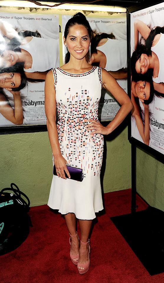 """LOS ANGELES, CA - JULY 24:  Actress Olivia Munn arrives at a screening of Millennium Entertainment's """"The Babymakers"""" at the Silent Movie Theatre on July 24, 2012 in Los Angeles, California.  (Photo by Kevin Winter/Getty Images)"""