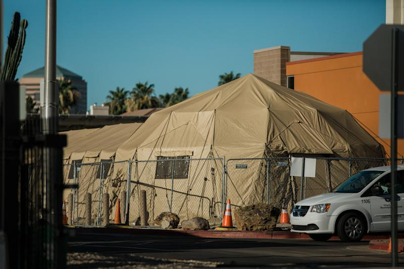 Temporary medical tents stand at the Carl T. Hayden VA Medical Center in Phoenix, Arizona, the state has emerged as one of the country's newest coronavirus hot spots, with the weekly average of daily cases more than doubling from two weeks ago. Source: Getty Images
