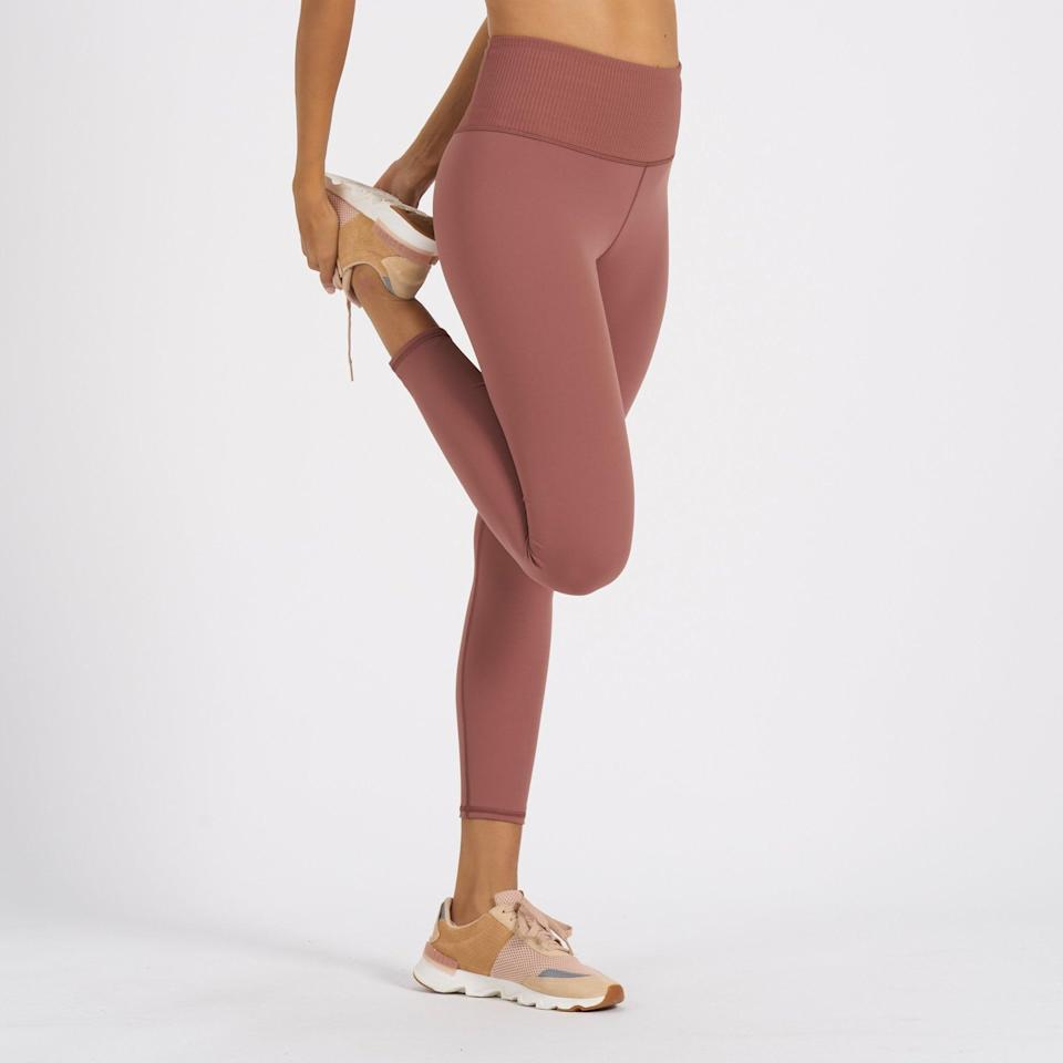 <p>I have the <span>Vuori Rib Studio Leggings in Terracotta</span> ($84) and they are silky soft, but still supportive. They come in a number of other shades, but this dusty pink is my my favorite.</p>