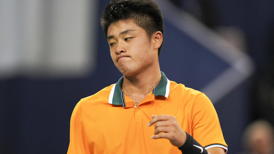 Wu Yibing in action against Kei Nishikori. (Photo by Fred Lee/Getty Images)