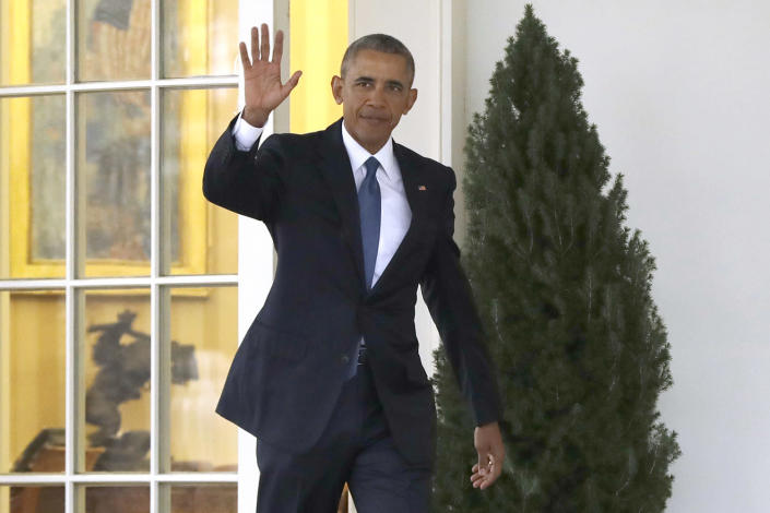 President Obama waves as he leaves the Oval Office on Jan. 20, before the start of inaugural festivities for Donald Trump. (Photo: Evan Vucci/AP)