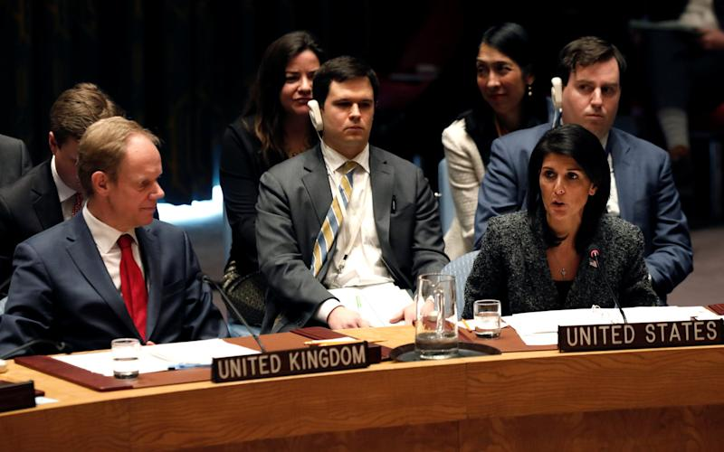 Nikki Haley, speaking at the United Nations