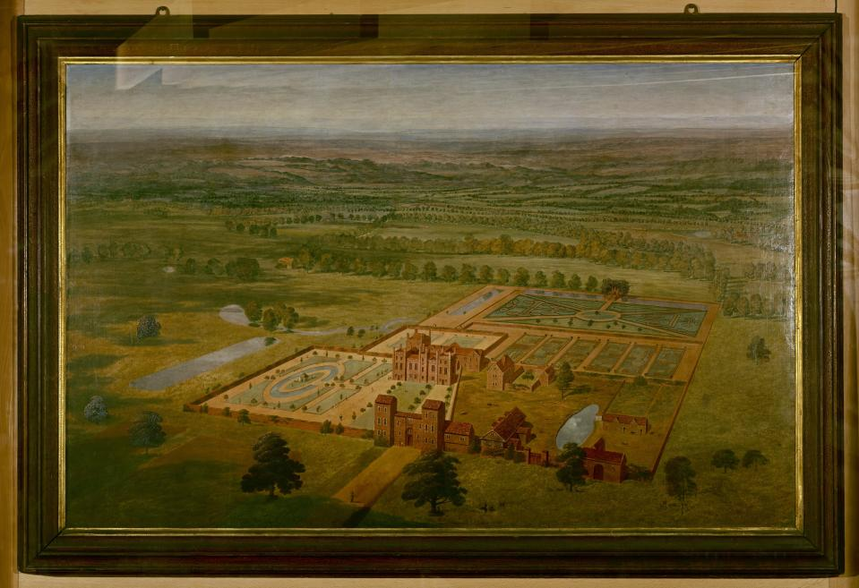 A painting of Belhus Mansion from around 1710, by an unknown artist in the style of Jan Siberechts. (Thurrock Museum/ PA)