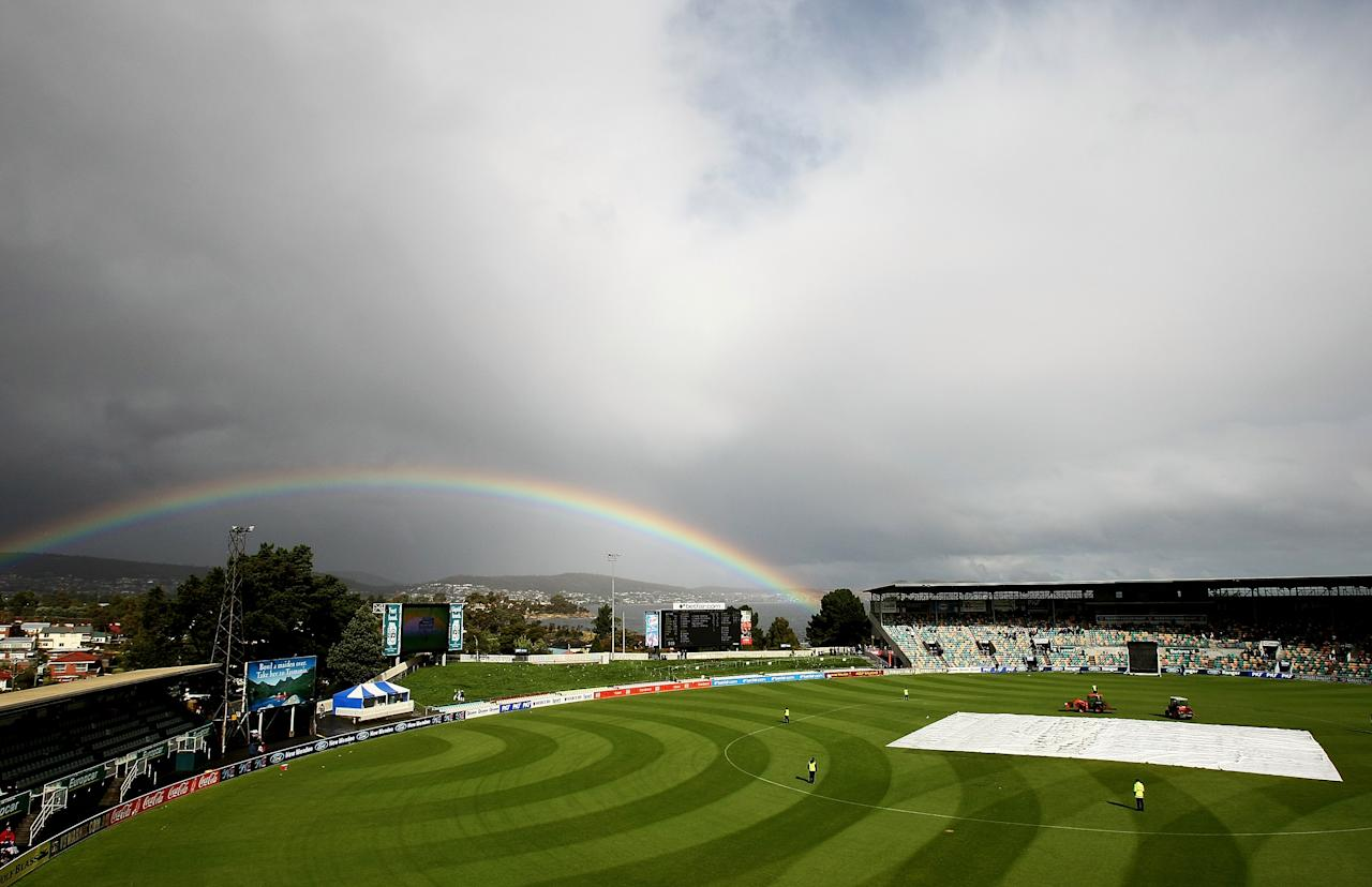 HOBART, AUSTRALIA - FEBRUARY 23:  A rainbow appears over the scoreboard during a rain delay  during the Ford Ranger Cup Final between the Tasmanian Tigers and the Victorian Bushrangers held at Bellerive Oval on Febraury 23, 2008 in Hobart, Australia.  (Photo by Quinn Rooney/Getty Images)
