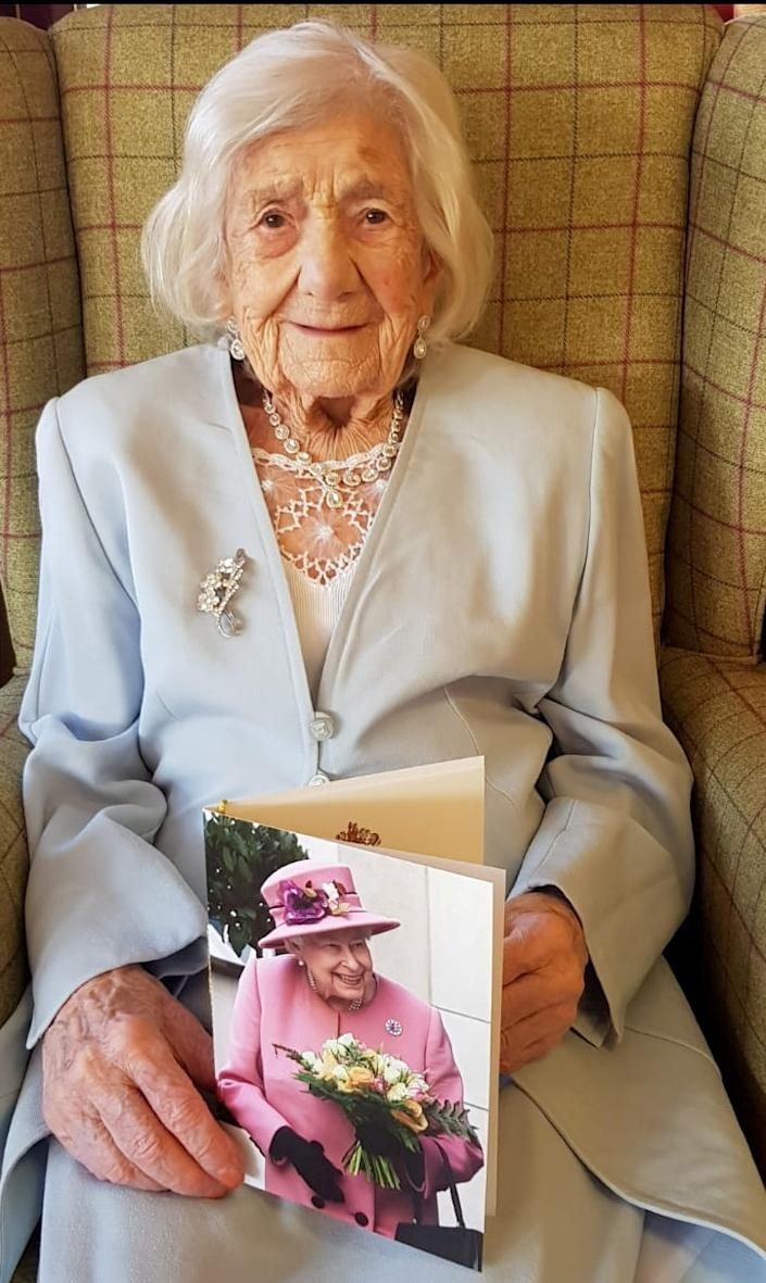 Nicholson was showered with cards and gifts on her special day. (Elizabeth Court Care Home / SWNS)