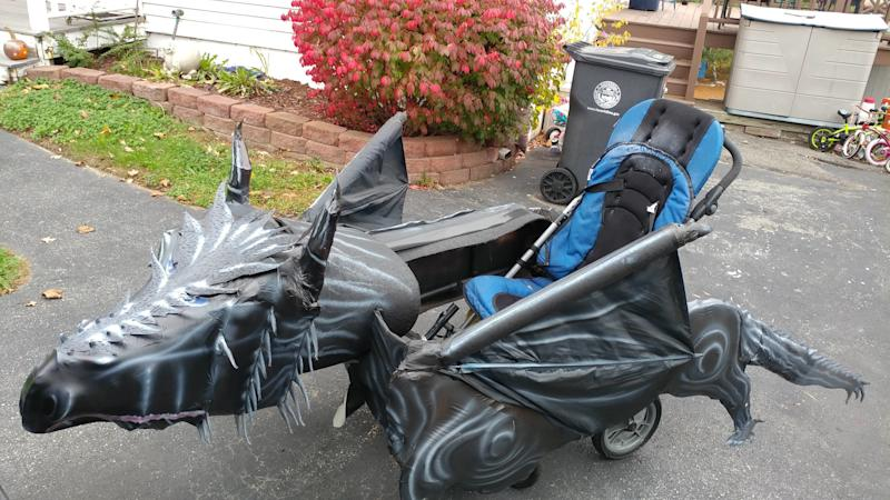 "For Halloween, Massachusetts dad Tom Hardy turned his son's wheelchair into a ""Game of Thrones"" dragon."