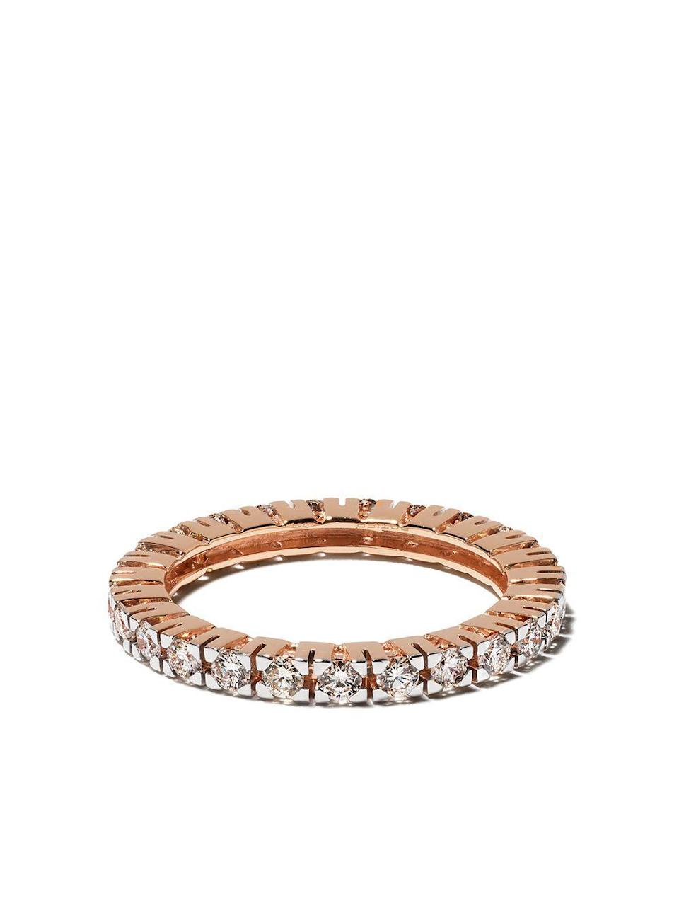 """<p><strong>Botier</strong></p><p>farfetch.com</p><p><strong>$3630.00</strong></p><p><a href=""""https://go.redirectingat.com?id=74968X1596630&url=https%3A%2F%2Fwww.farfetch.com%2Fshopping%2Fwomen%2Fbotier-18kt-rose-gold-big-day-diamond-eternity-ring-item-15196398.aspx&sref=https%3A%2F%2Fwww.harpersbazaar.com%2Ffashion%2Ftrends%2Fg5645%2Fmothers-day-gift-guide%2F"""" rel=""""nofollow noopener"""" target=""""_blank"""" data-ylk=""""slk:Shop Now"""" class=""""link rapid-noclick-resp"""">Shop Now</a></p><p>Diamonds are forever</p>"""