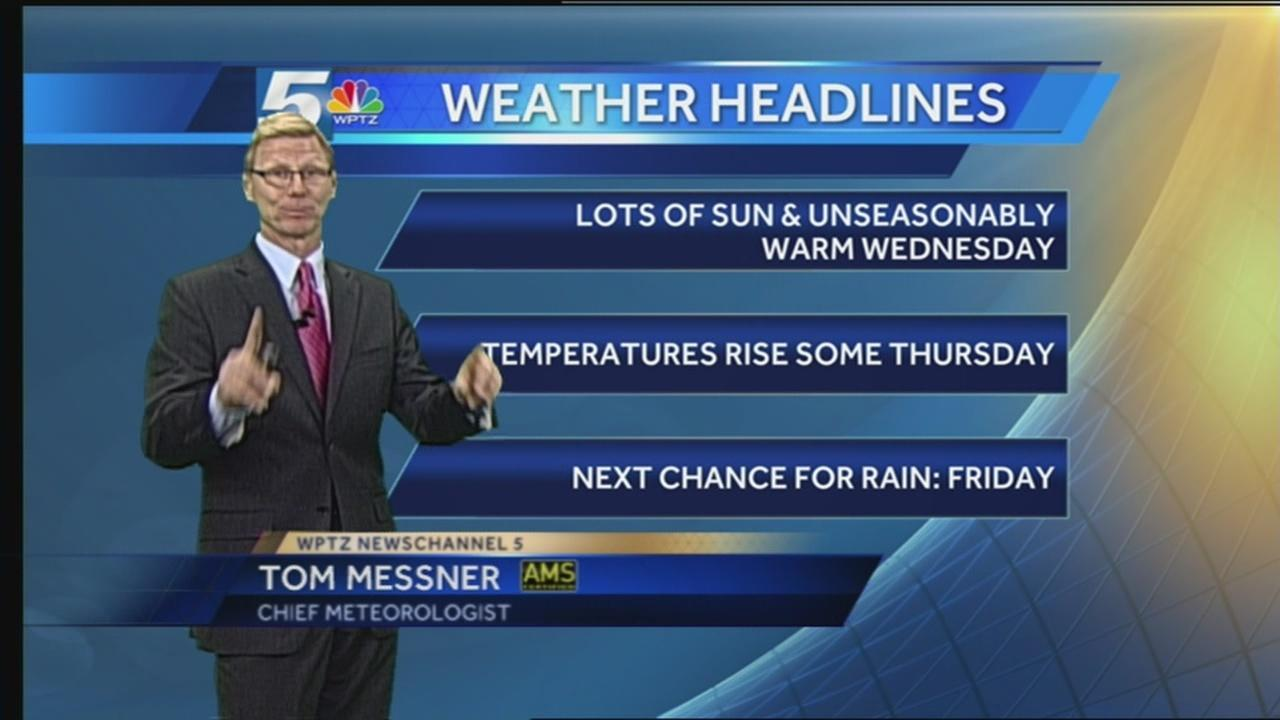 Tom Messner's unseasonably warm weather forecast 11 3 15 [Video]