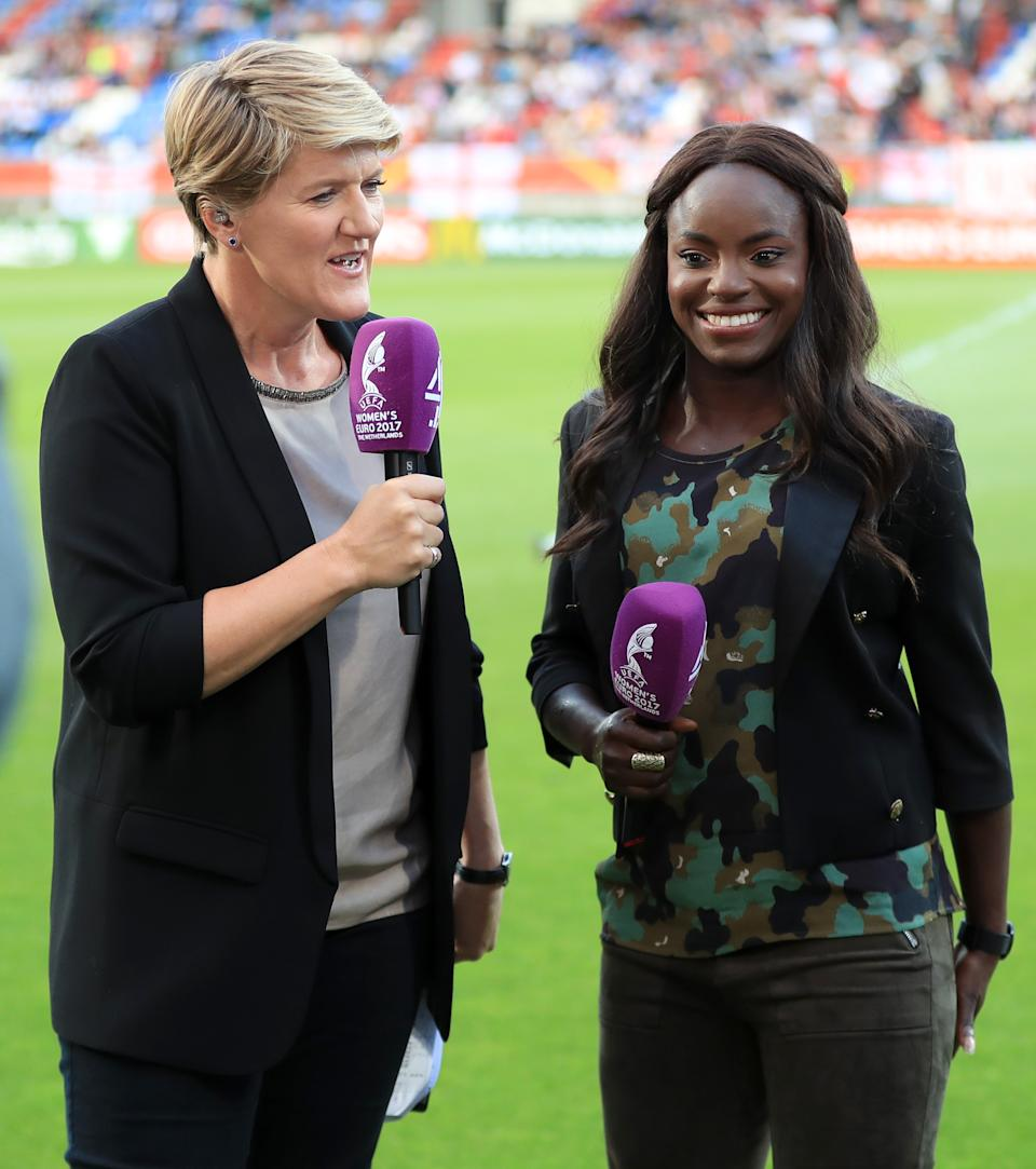 Presenter Clare Balding and Eniola Aluko during the UEFA Women's Euro 2017, Group D match at the Koning Willem II Stadion, Tilburg.