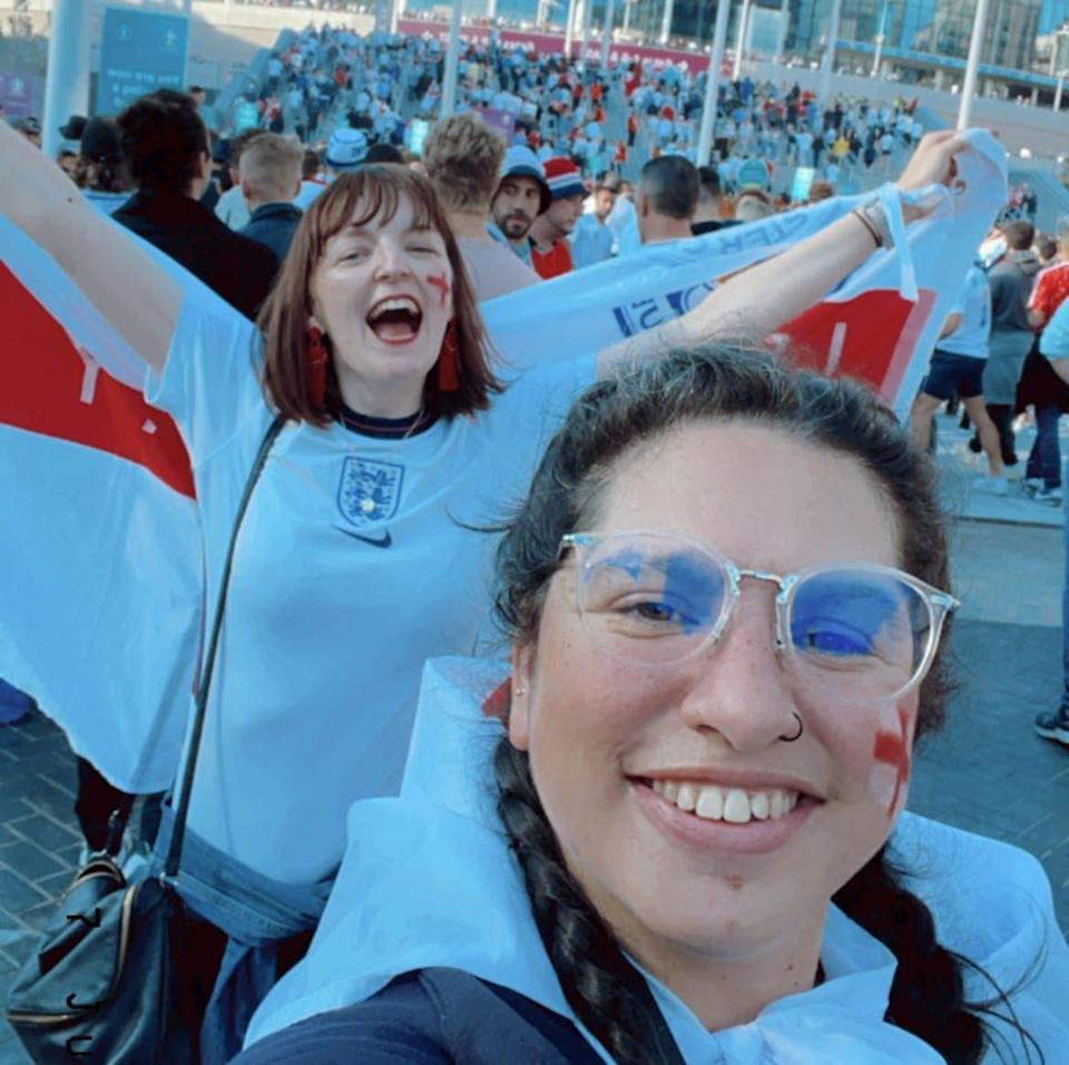 Farooqi (right) has said that she would do it all over again, pictured with her friend outside Wembley - NINA FAROOQI