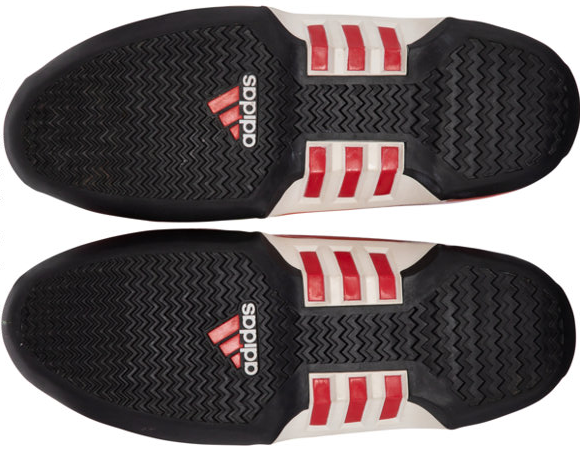 The bottom of the sneakers gifted from Kobe Bryant to LeBron James feature the Adidas logo.